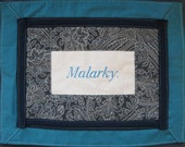 Embroidered Words 'Malarky.' 11x14 in unframed