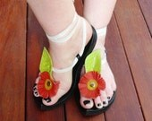 Leather Sandal - My Pick - Attachment bright lime green leaf with orange flower