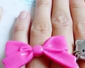 kawaii large hot pink bow ring