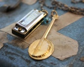 Front Porch Music Necklace with Harmonica and Banjo