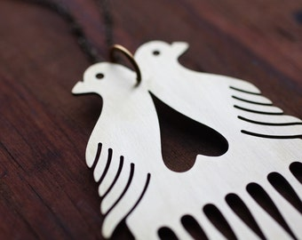 Love Birds Beard and Mustache Comb Necklace