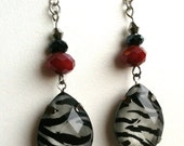 Zebra and Red Earrings, unique, sexy, red, black, and white fashion jewelry