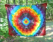 Tie Dye Tapestry - Rainbow Mandala - 38in x 30 in. - Ready to Ship