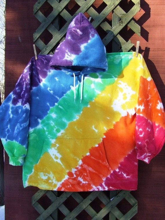 Adult 2XL Tie Dye Hoodie with Front Pocket - Rainbow-licious - Ready to Ship