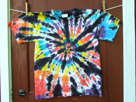 Organic Youth Tie Dye T-shirt - Midnight Rainbow Swirl - Size YOUTH LARGE (14-16) - Ready to Ship