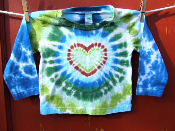 Long Sleeve Tie Dye Baby Shirt - Forest Heart - 12 months - Ready to ship