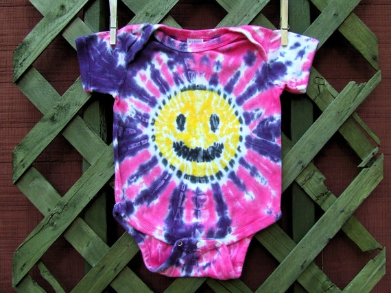Tie Dye Baby Onesie - Happy Smiley Face - Pink and Purple - 18 months - Ready to Ship