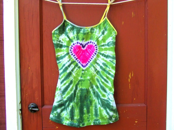Tie Dye Tank Top w/ adjustable straps - Women's Large - Pink Heart on Green - Ready to Ship