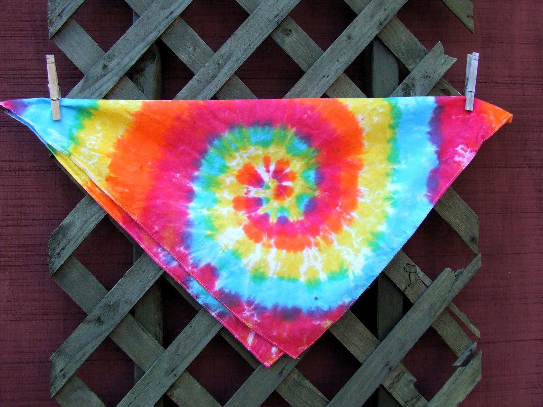 tie dye bandana scarf rainbow swirl ready to