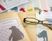 Printable Set of 6 Animal Bookplates and Bookmarks