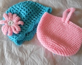 Toddler Girl's Hand-Crocheted Hat and Purse Set - Baby Blue and Pink 12 months to 5T