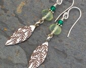Prehnite Green Onyx Thai Hill Tribe Silver Earrings - Bamboo