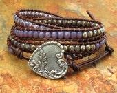 Czech Glass Leather Four Wrap Bracelet - Lavender