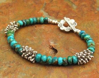 Turquoise Thai Hill Tribe Silver Bracelet - Spirit
