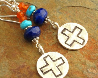 Lapis Turquoise Carnelian Thai Hill Tribe Silver Earrings - Mission
