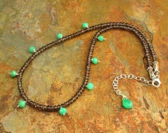 Chrysoprase Smokey Quartz Necklace - Buds