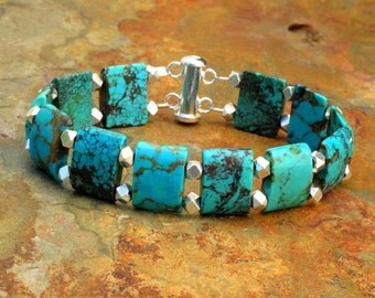 Turquoise Thai Hill Tribe Silver Bracelet - Turquoise Slabs