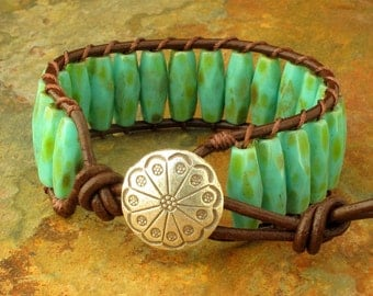 Czech Glass Leather Thai Hill Tribe Silver Bracelet - Turquoise Picasso