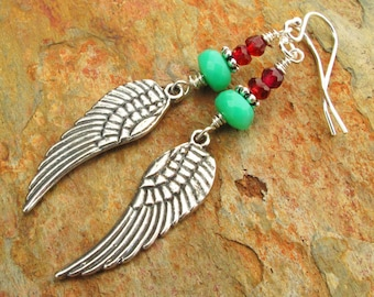 Chrysoprase Garnet Sterling Silver Earrings - Wings