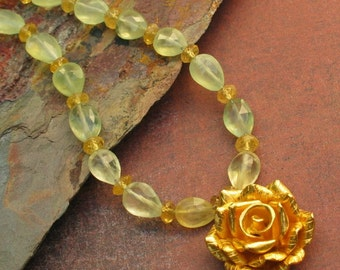 Gold Vermeil Prehnite Aquamarine Necklace - Golden Rose