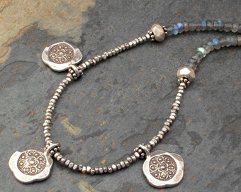 Labradorite Thai Hill Tribe Silver Necklace -  Ethnic Charms