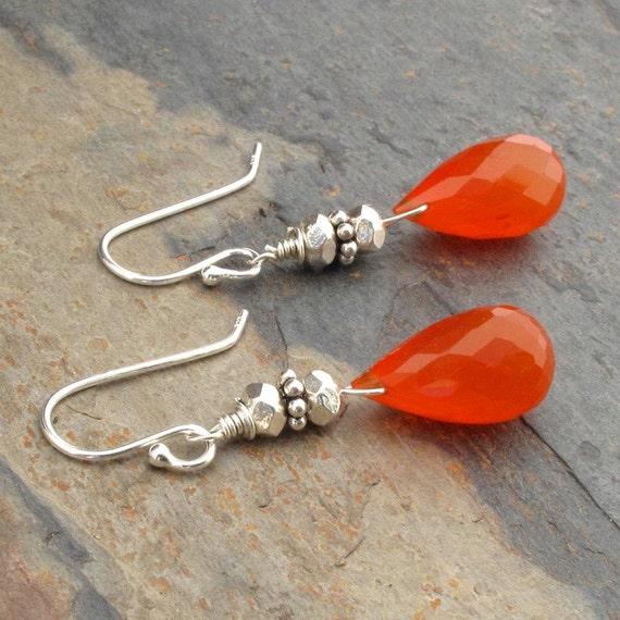 Carnelian Thai Hill Tribe Silver Earrings - Sonora