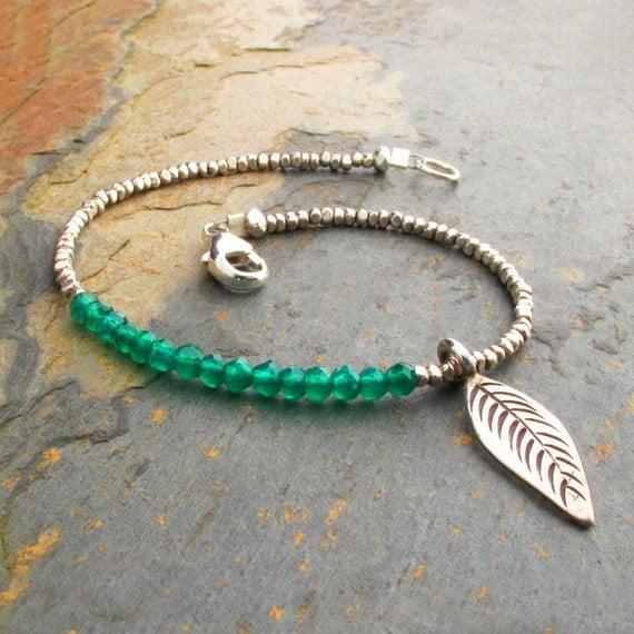 Green Onyx Thai Hill Tribe Silver Bracelet - Little Green Leaf