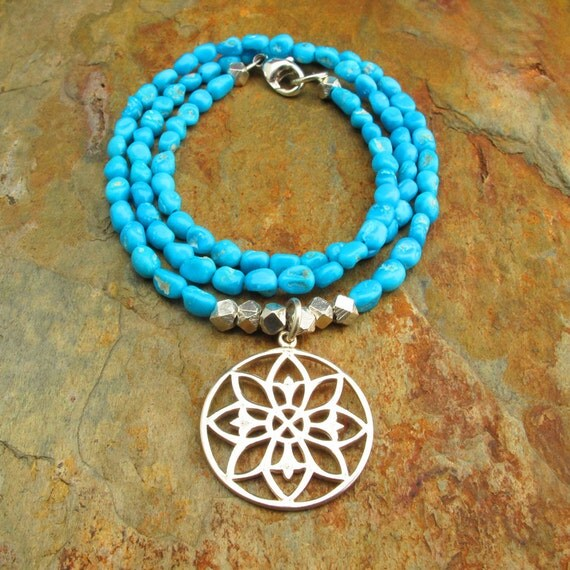 Sterling Silver Sleeping Beauty Turquoise Necklace - Lily Mandala