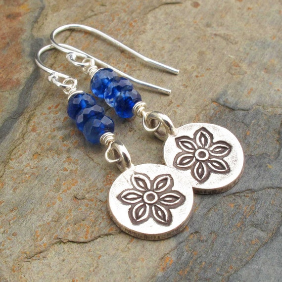 Kyanite Thai Hill Tribe Silver Earrings - Forget Me Knots