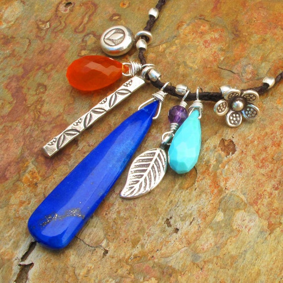 Lapis Turquoise Carnelian Linen Hill Tribe Silver  Necklace - Charmed