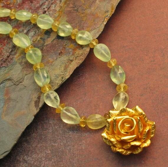 Gold Vermeil Prehnite Aquamarine Necklace - Golden Rose