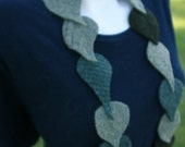 Leafy Tendrils Felted Garland Scarf - Upcycled from Reclaimed Wool