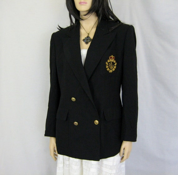 vintage black ralph lauren insignia crest blazer. Black Bedroom Furniture Sets. Home Design Ideas