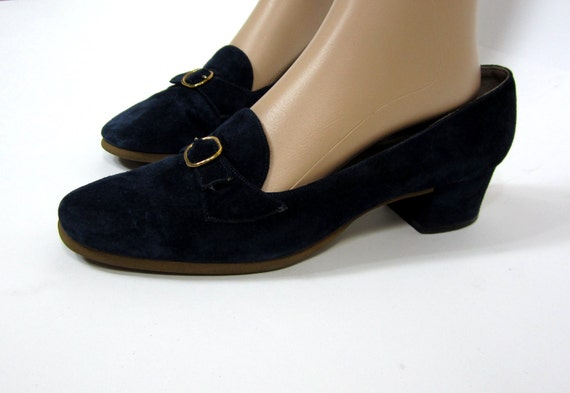 1960's Loafers Shoes Delman Blue Suede Buckle Accent