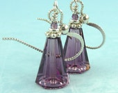 Purple Diana earrings - purple Swarovski crystals and sterling silver