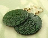 Let's Be Green, laser etched tab shell, green bamboo pattern on brown, gold filled earwires