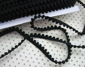 Goth Black Pompom Trim /  Mini Pompom  fringe 2 yards pom pom craft trim