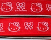 Hello Kitty Red or Pink Grosgrain Ribbon 5/8Inch- 2 yards