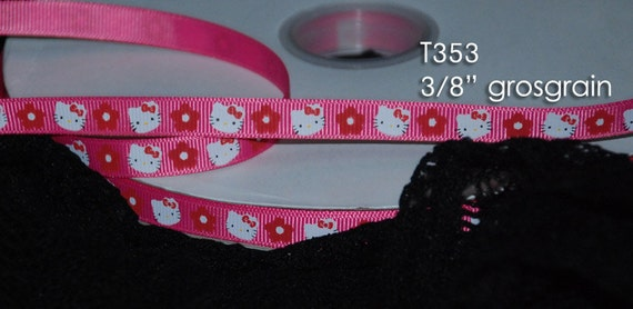 Hello Kitty Pink Grosgrain Ribbons 3/8inch - 2 yards