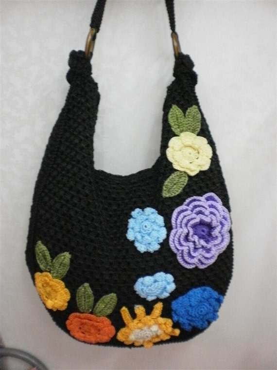 Handmade Knit Crochet lady bag Medium fashion handbag tote durable ...