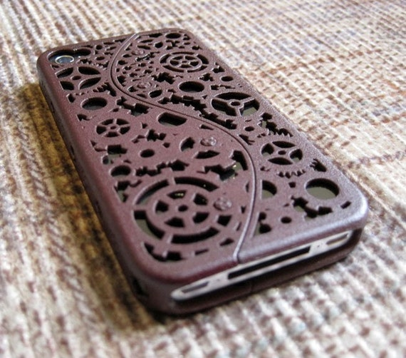 Designer Steampunk iPhone 4 Cogs and Gears Case (in 3D printed Nylon) - 8 color options - Made to Order (5 dollars of each sale made between the 12th and 24th of March will be donated to the Red Cross efforts in Japan)