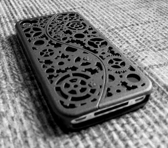 Designer iPhone 4S Steampunk Inspired Cogs and Gears Case (3D printed Nylon) - 5 color options