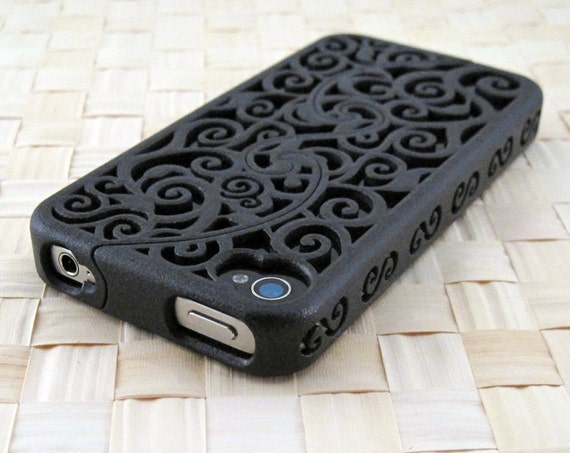 MADE TO ORDER (4-8 weeks) Designer iPhone 4S & 4 Victorian Filigree Swirl Puzzle Case (3D printed Nylon) - 4 color options