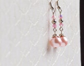 timeless classic long faux pearl earrings in pink, grey, champagne, and salmon