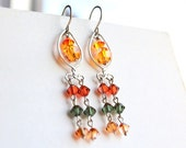 Swarovski crystals chandelier earrings in hand forged silver