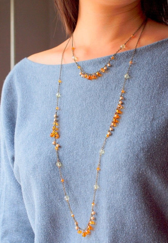 Orange amber double long necklace in vintage gold chain, Black Friday Etsy Cyber Monday Etsy Special