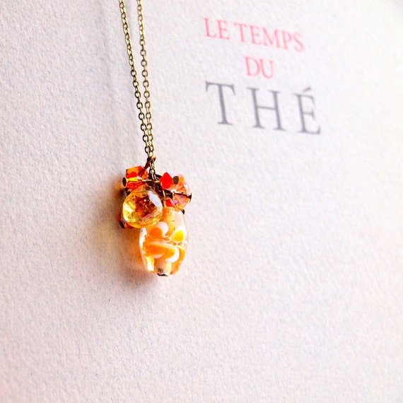 Orange long necklace with vintage gold chain