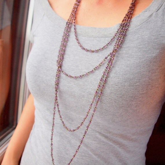 Purple grapevine infinite loop layered necklace in antique gold