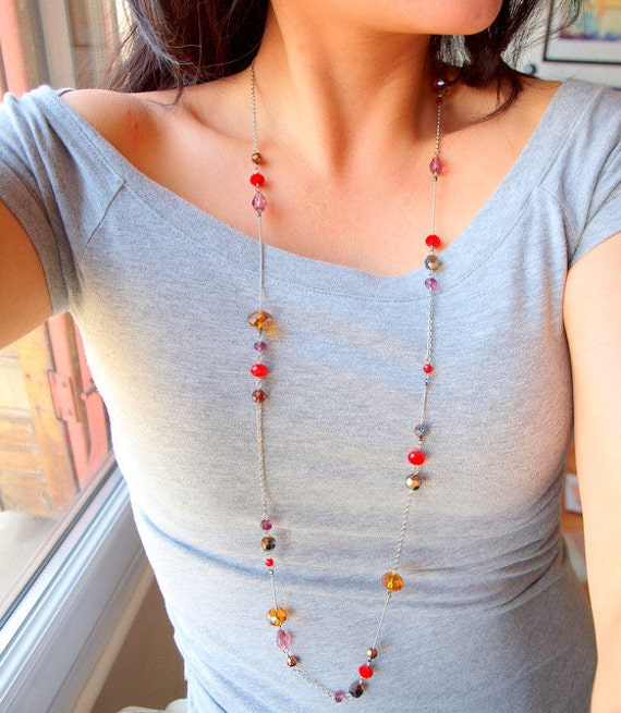 Red , Golden, and Bronze long necklace