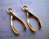 Wishbone WISH BONE Pendants Charms, Set of 5 Bulk, 20x10 mm, Gold Plated Bras.. good luck wishbone.. wholesale .. luckcharms